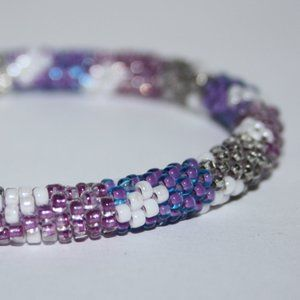 Beautiful purple and white beaded bracelet